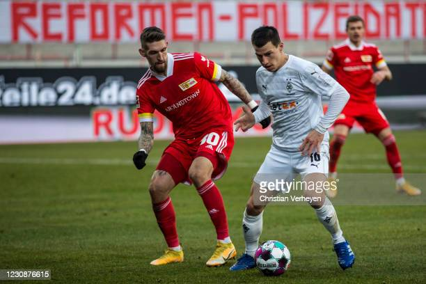 Stefan Lainer of Borussia Moenchengladbach in action during the Bundesliga match between 1. FC Union Berlin and Borussia Moenchengladbach at Stadion...