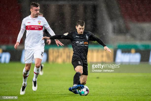 Stefan Lainer of Borussia Moenchengladbach in action during the DFB Cup match between VfB Stuttgart and Borussia Moenchengladbach at Mercedes-Benz...