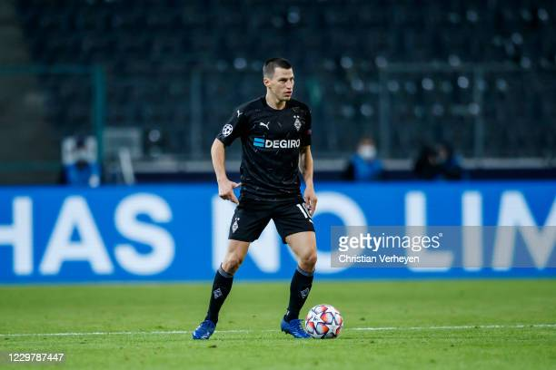 Stefan Lainer of Borussia Moenchengladbach in action during the Group B UEFA Champions League match between Borussia Moenchengladbach and Shakhtar...