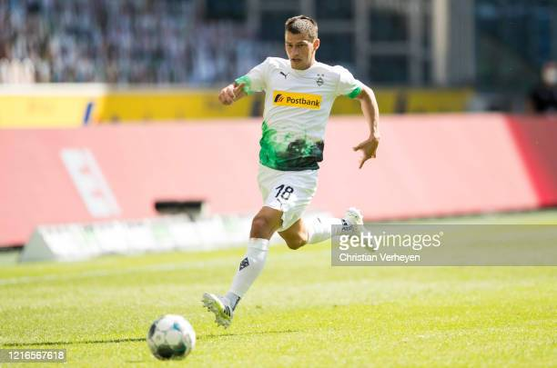 Stefan Lainer of Borussia Moenchengladbach in action during the Bundesliga match between Borussia Moenchengladbach and 1 FC Union Berlin at...