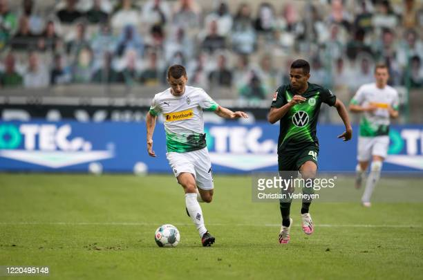 Stefan Lainer of Borussia Moenchengladbach in action during the Bundesliga match between Borussia Moenchengladbach and VfL Wolfsburg at BorussiaPark...