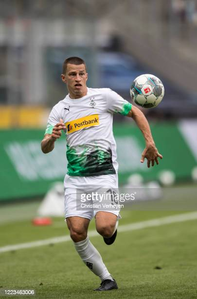 Stefan Lainer of Borussia Moenchengladbach in action during the Bundesliga match between Borussia Moenchengladbach and Hertha BSC at BorussiaPark on...