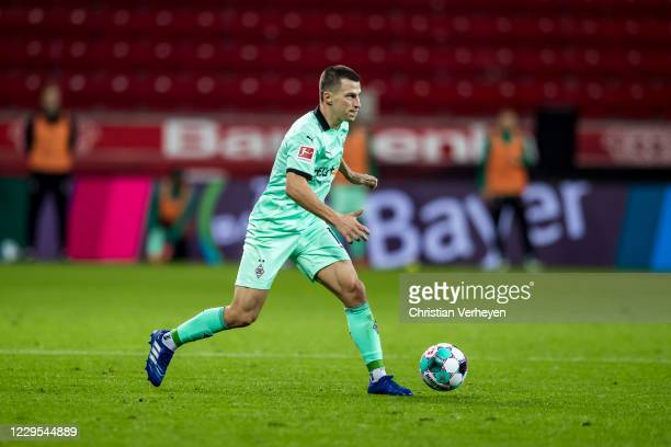 Stefan Lainer of Borussia Moenchengladbach in action during the Bundesliga match between Bayer 04 Leverkusen and Borussia Moenchengladbach at...