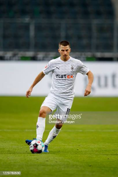 Stefan Lainer of Borussia Moenchengladbach in action during the Bundesliga match between Borussia Moenchengladbach and FC Augsburg at BorussiaPark on...