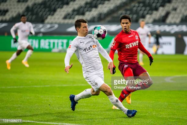 Stefan Lainer of Borussia Moenchengladbach in action during the Bundesliga match between Borussia Moenchengladbach and 1.FC Koeln at Borussia-Park on...