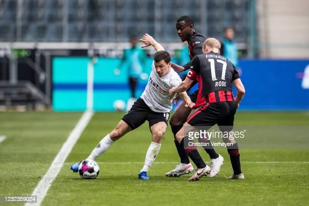 Stefan Lainer of Borussia Moenchengladbach in action during the Bundesliga match between Borussia Moenchengladbach and Eintracht Frankfurt at...