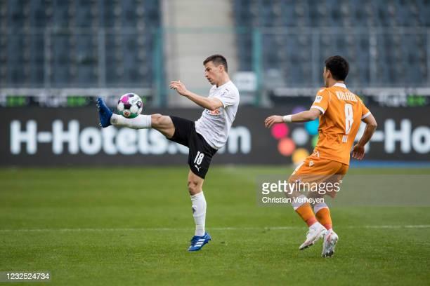 Stefan Lainer of Borussia Moenchengladbach in action during the Bundesliga match between Borussia Moenchengladbach and DSC Arminia Bielefeld at...