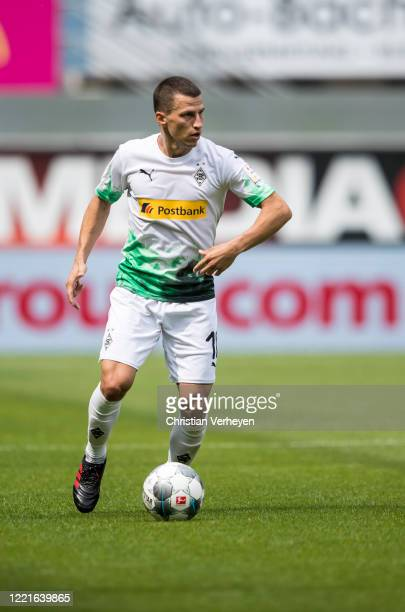 Stefan Lainer of Borussia Moenchengladbach in action during the Bundesliga match between SC Paderborn and Borussia Moenchengladbach at BentelerArean...
