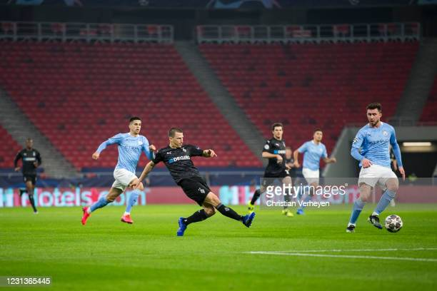 Stefan Lainer of Borussia Moenchengladbach in action during the UEFA Champions League Round Of 16 Leg One match between Borussia Moenchengladbach and...