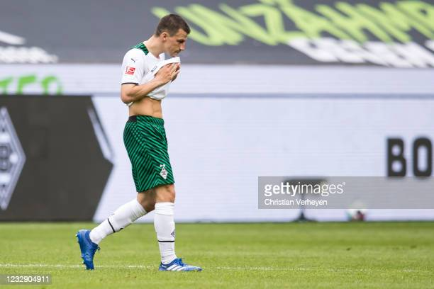 Stefan Lainer of Borussia Moenchengladbach is seen after the Bundesliga match between Borussia Moenchengladbach and VfB Stuttgart at Borussia-Park on...