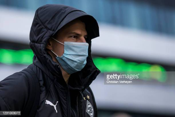 Stefan Lainer of Borussia Moenchengladbach is seen before the Bundesliga match between Borussia Moenchengladbach and 1.FC Koeln at Borussia-Park on...