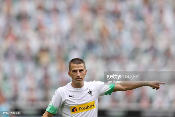Stefan Lainer of Borussia Moenchengladbach reacts during the Bundesliga match between Borussia Moenchengladbach and Hertha BSC at BorussiaPark on...