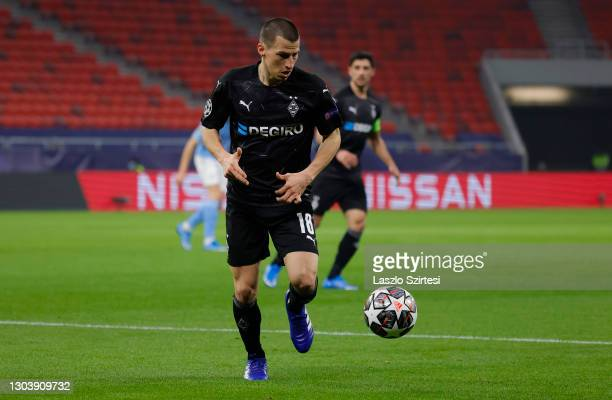 Stefan Lainer of Borussia Monchengladbach in action during the UEFA Champions League Round of 16 match between Borussia Moenchengladbach and...