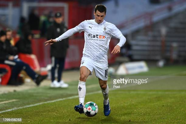 Stefan Lainer of Borussia Monchengladbach runs with the ball during the Bundesliga match between 1. FC Union Berlin and Borussia Moenchengladbach at...