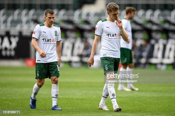 Stefan Lainer of Moenchengladbach and Matthias Ginter of Moenchengladbach after the Bundesliga match between Borussia Moenchengladbach and VfB...