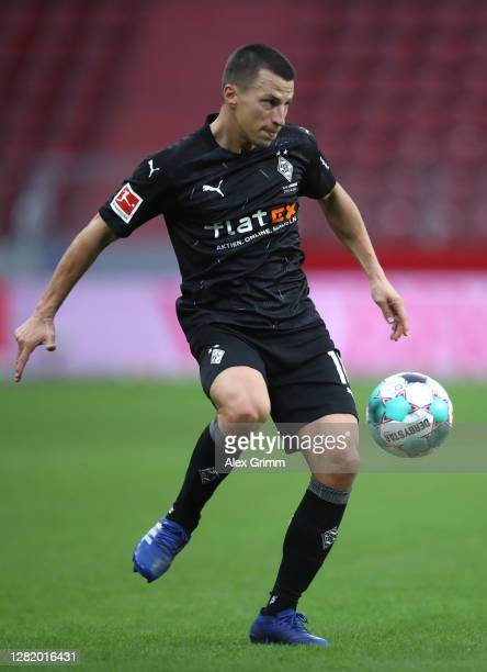 Stefan Lainer of Moenchengladbach controls the ball during the Bundesliga match between 1 FSV Mainz 05 and Borussia Moenchengladbach at Opel Arena on...