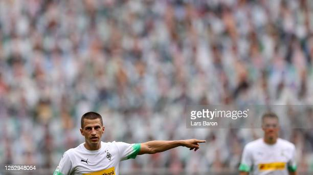 Stefan Lainer of Moenchengladbach gestures during the Bundesliga match between Borussia Moenchengladbach and Hertha BSC at BorussiaPark on June 27...