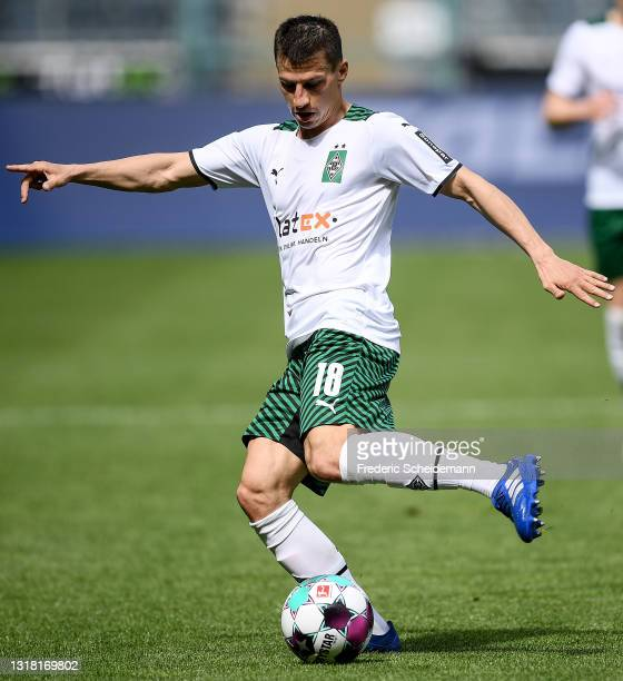 Stefan Lainer of Moenchengladbach runs with the ball during the Bundesliga match between Borussia Moenchengladbach and VfB Stuttgart at Borussia-Park...