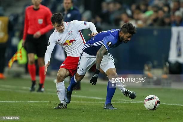 Stefan Lainer of Salzburg and Junior Caiçara of Schalke battle for the ball during the UEFA Europa League match between FC Salzburg and FC Schalke 04...