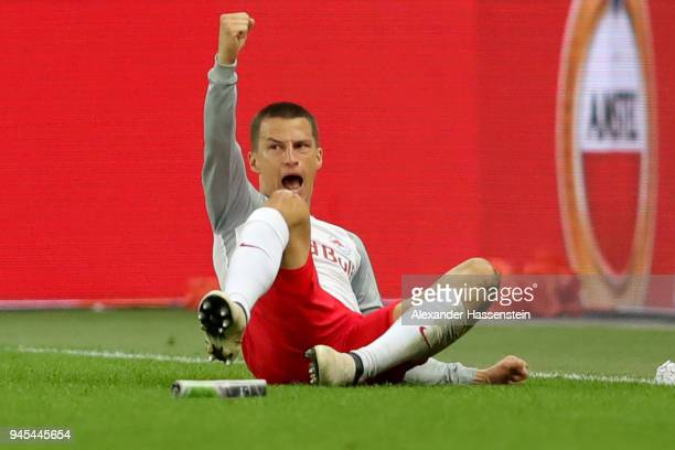Stefan Lainer of Salzburg celebrates scoring the 4th team goal during the UEFA Europa League quarter final leg two match between RB Salzburg and...