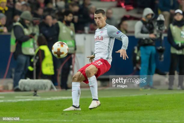 Stefan Lainer of Salzburg controls the ball during UEFA Europa League Round of 16 second leg match between FC Red Bull Salzburg and Borussia Dortmund...