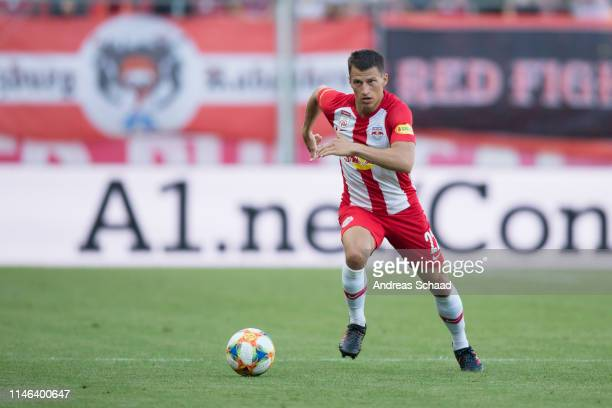 Stefan Lainer of Salzburg in action during the tipico Bundesliga match between RB Salzburg and SKN St. Poelten at Red Bull Arena on May 26, 2019 in...