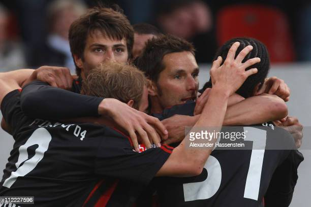 Stefan Leitl of Ingolstadt celebrates scoring the 3rd team goal with his team mates during the Second Bundesliga match between FC Ingolstadt and VfL...