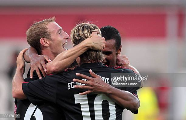 Stefan Leitl of Ingolstadt celebrates with his team mates after scoring his team's 3d goal during the Second Bundesliga match between FC Ingolstadt...