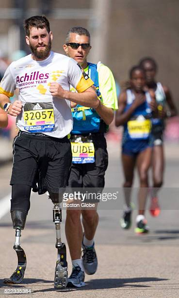 Stefan Leroy competes in the 120th Boston Marathon on Monday, April 18, 2016. Leroy was a sergeant in the 82nd Airborne Division and lost both legs...