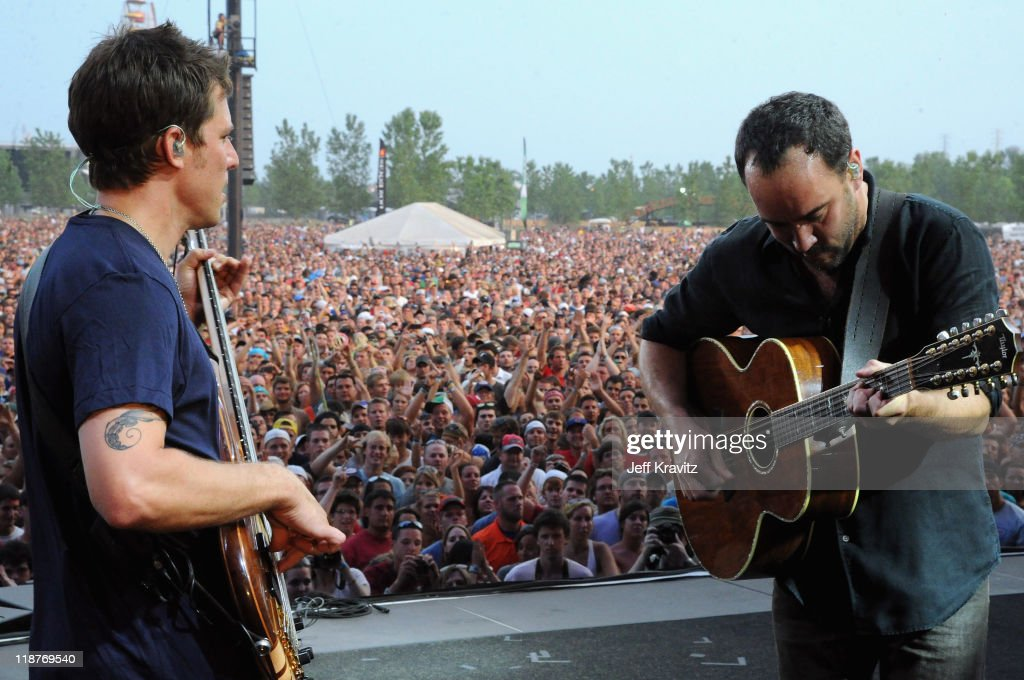 Stefan Lessard and Dave Matthews of Dave Matthews Band perform during the final day of Dave Matthews Band Caravan at Lakeside on July 10, 2011 in Chicago, Illinois.