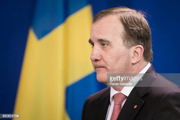 Stefan Loefven Prime Minister of Sweden is pictured during a press conference on March 16 2018 in Berlin Germany