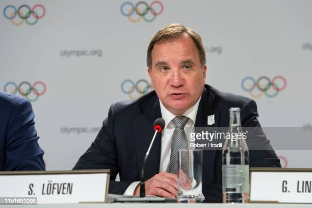 Stefan Lofven, Prime Minister of Sweden speaks during IOC Announcement at SwissTech Convention Center on June 24, 2019 in Lausanne, Switzerland.