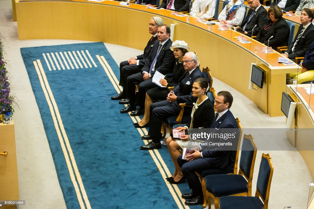 Stefan Lofven, Queen Silvia of Sweden, Carl XVI Gustaf of Sweden, Princess Victoria of Sweden, and Prince Daniel of Sweden attends the opening of the Parliamentary session on September 12, 2017 in Stockholm, Sweden.