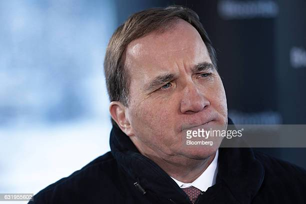 Stefan Lofven Sweden's prime minister pauses during a Bloomberg Television interview at the World Economic Forum in Davos Switzerland on Wednesday...