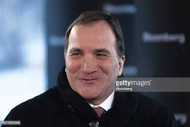 Stefan Lofven Sweden's prime minister reacts during a Bloomberg Television interview at the World Economic Forum in Davos Switzerland on Wednesday...