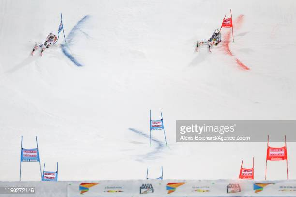 Stefan Luitz of Germany Rasmus Windingstad of Norway compete during the Audi FIS Alpine Ski World Cup Men's Parallel Giant Slalom on December 23 2019...