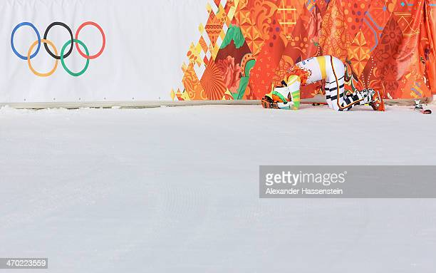 Stefan Luitz of Germany reacts during the Alpine Skiing Men's Giant Slalom on day 12 of the Sochi 2014 Winter Olympics at Rosa Khutor Alpine Center...