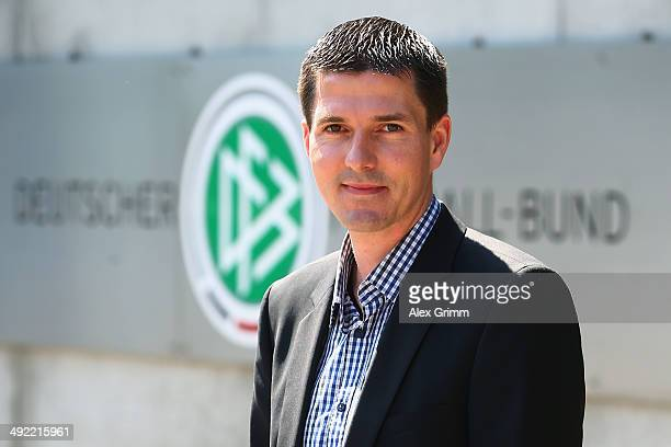 Stefan Lupp poses prior to a press conference of the German FIFA 2014 World Cup referees at DFB headquarters on May 19 2014 in Frankfurt am Main...