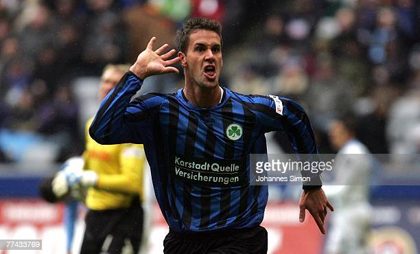 Stefan Maierhofer of Fuerth celebrates after scoring 2-0 during the Second Bundesliga match between TSV 1860 Munich and SpVgg Greuther Fuerth at the...