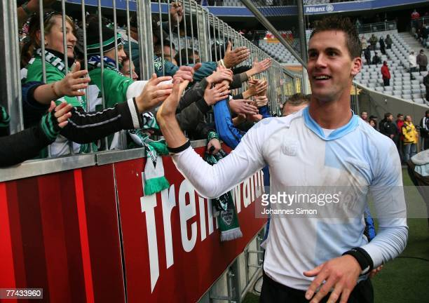 Stefan Maierhofer of Fuerth celebrates after the Second Bundesliga match between TSV 1860 Munich and SpVgg Greuther Fuerth at the Allianz Arena on...