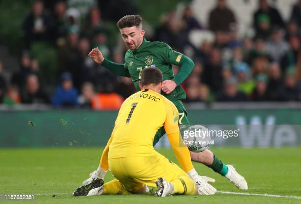 Stefan Marinovic of New Zealand saves from Sean Maguire of Republic of Ireland during the International Friendly match between Ireland and New...