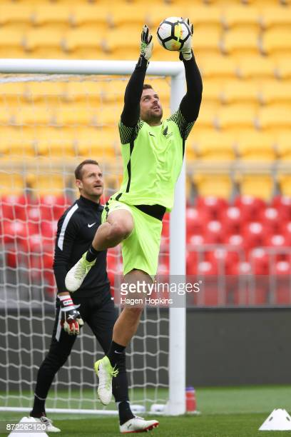Stefan Marinovic takes part in a drill while Glen Moss looks on during a New Zealand All Whites training session at Westpac Stadium on November 10...