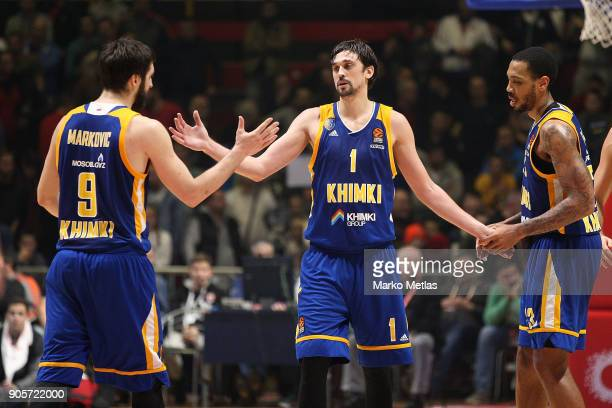 Stefan Markovic #9 Alexey Shved #1 and James Anderson #21 of Khimki Moscow Regionof Khimki Moscow Region celebrate during the 2017/2018 Turkish...