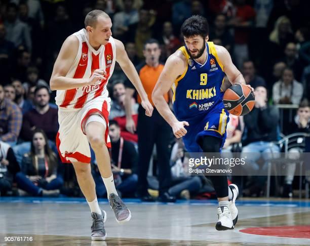 Stefan Markovic of Khimki in action against Dejan Davidovac of Crvena Zvezda during the 2017/2018 Turkish Airlines EuroLeague Regular Season Round 18...