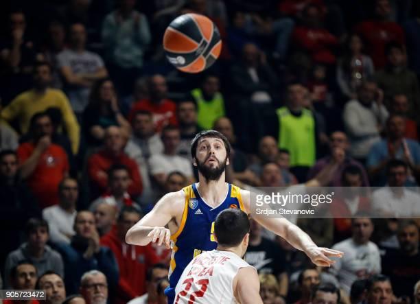 Stefan Markovic of Khimki in action against Taylor Rochestie of Crvena Zvezda during the 2017/2018 Turkish Airlines EuroLeague Regular Season Round...