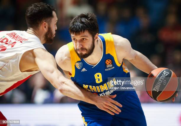 Stefan Markovic of Khimki is challenged by Stefan Jankovic of Crvena Zvezda during the 2017/2018 Turkish Airlines EuroLeague Regular Season Round 18...