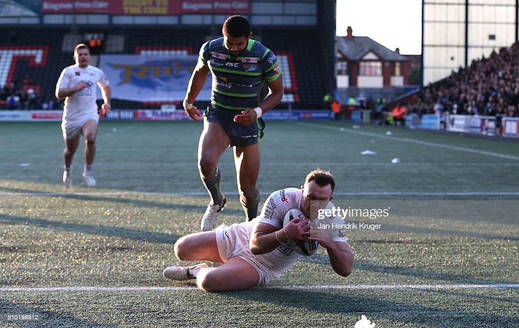 Stefan Marsh of Widnes Vikings goes over for a try during the First Utility Super League match between Widnes Vikings and Leeds Rhinos at Select Security Stadium on February 14, 2016 in Widnes, England.