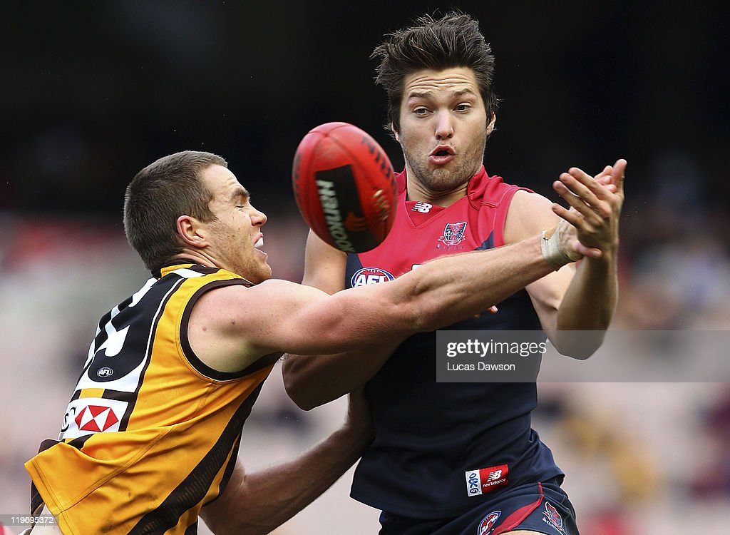 Stefan Martin of the Demons marks the ball during the round 18 AFL match between the Melbourne Demons and the Hawthorn Hawks at Melbourne Cricket Ground on July 24, 2011 in Melbourne, Australia.
