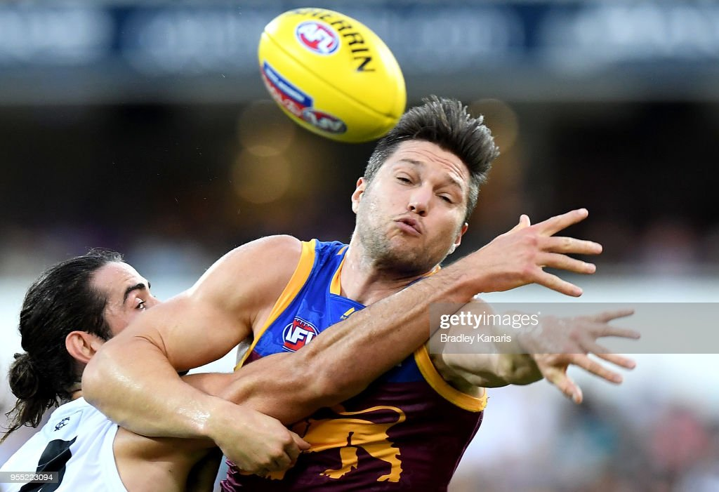 Stefan Martin of the Lions and Brodie Grundy of Collingwood compete for the ball during the round seven AFL match between the Brisbane Lions and the Collingwood Magpies at The Gabba on May 6, 2018 in Brisbane, Australia.