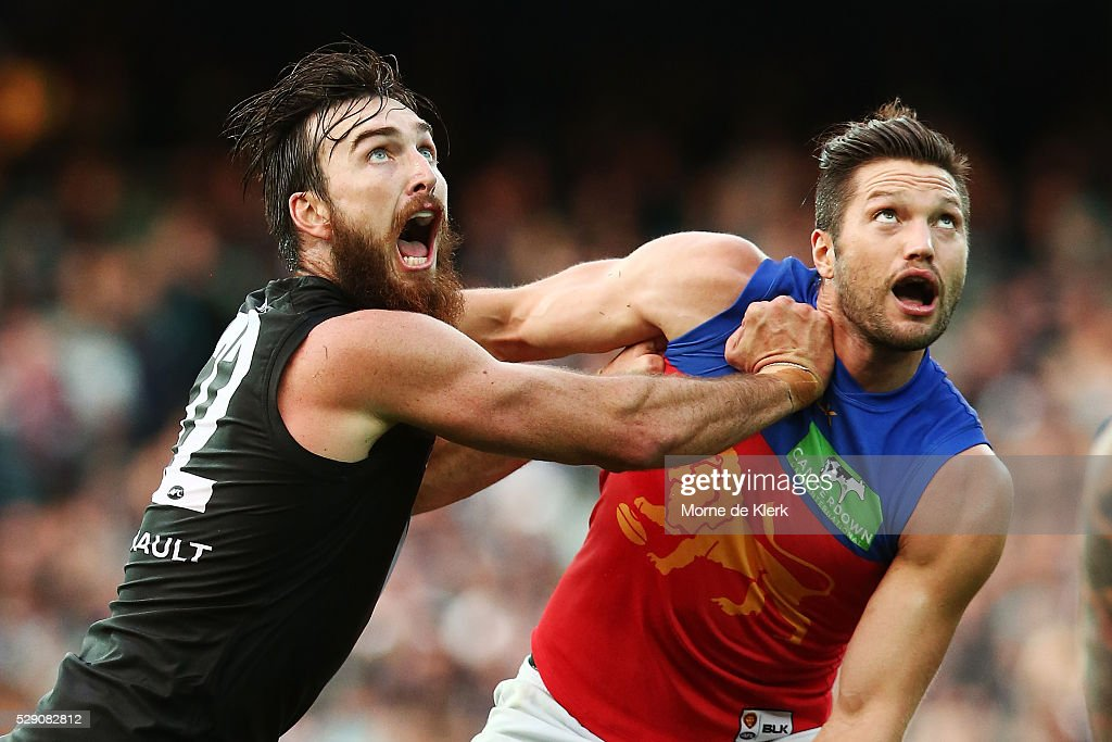 Stefan Martin of the Lions and Charlie Dixon of the Power during the round seven AFL match between the Port Adelaide Power and the Brisbane Lions at Adelaide Oval on May 8, 2016 in Adelaide, Australia.